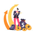 financial growth and success at work man with vector image