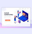 flat design isometric concept cloud technology vector image vector image