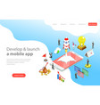flat isometric landing page templare of vector image