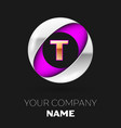 golden letter t logo in the silver-purple circle vector image
