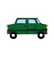 green car sedan cartoon vehicle transport vector image vector image