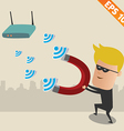 Hacker on wireless network - - EPS10 vector image