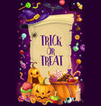 halloween candies pumpkins bats trick or treat vector image vector image
