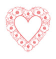 hand drawn poppy heart shape frame vector image vector image