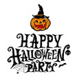 happy halloween party lettering design vector image vector image
