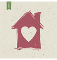 house with heart symbol vector image vector image