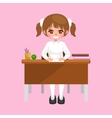 little girl sitting at the table with notebooks vector image vector image