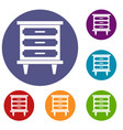 nightstand icons set vector image vector image