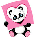 panda with a card of geometric shape heart vector image vector image