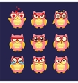 Pink Owl Emoji Collection vector image vector image