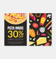 pizza house card template with cooking ingredients vector image vector image