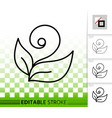 plant simple black line icon vector image vector image