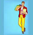 pop art fat man with shopping bags vector image vector image