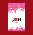 red paper cut a dog zodiac 2019 card with blossom vector image
