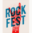rock hand gesture silhouette with rock fest vector image
