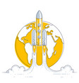 rocket start from earth to space to discover vector image vector image