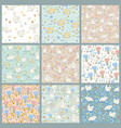set cute easter seamless patterns vector image