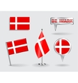 Set of Danish pin icon and map pointer flags vector image