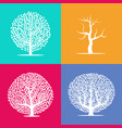 set of four silhouettes of trees vector image