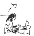 sketch of girl works using pen tablet hand drawn vector image vector image