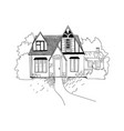 sketch of the house architecture free hand vector image