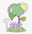 spring tree with rainbow and wood grillage vector image