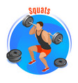 squats with barbell isometric background vector image vector image