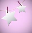 Star shape of note papers hang on string with vector image vector image