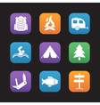 Tourism and camping flat design icons set vector image