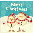 Two Cartoon Cute Snowmans vector image vector image