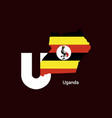 uganda initial letter country with map and flag vector image