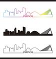 Valencia skyline linear style with rainbow vector image vector image