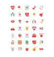 Valentine Colored Icons 2 vector image