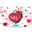 valentines day sale background with colored hearts vector image