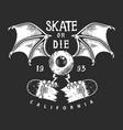 vintage skateboarding monochrome logo vector image vector image