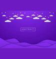 violet liquid sky with paper cut clouds and star vector image