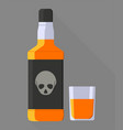 whiskey bottle in flat style on a grey colored vector image