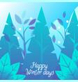winter holiday card fir-tree and snowfall vector image vector image