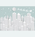 winter holiday snow in city background with santa vector image vector image