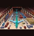 workers in an airplane factory vector image vector image