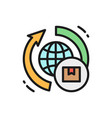 worldwide delivery flat color icon isolated vector image
