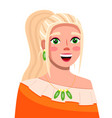 young smiling blond hair girl with trendy makeup vector image
