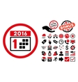 2016 Day Flat Icon with Bonus vector image vector image
