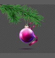 3d realistic christmas ball with fir branch vector image