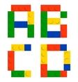 Alphabet set made of toy construction brick blocks vector image vector image