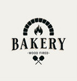 bakery logo with oven shovel wood fired bread vector image