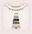 black and golden happy birthday decoration banner vector image