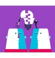 Businessman and business woman completing a bulb vector image vector image