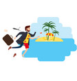businessman travels from winter to summer to a vector image