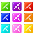 chain link icons 9 set vector image vector image